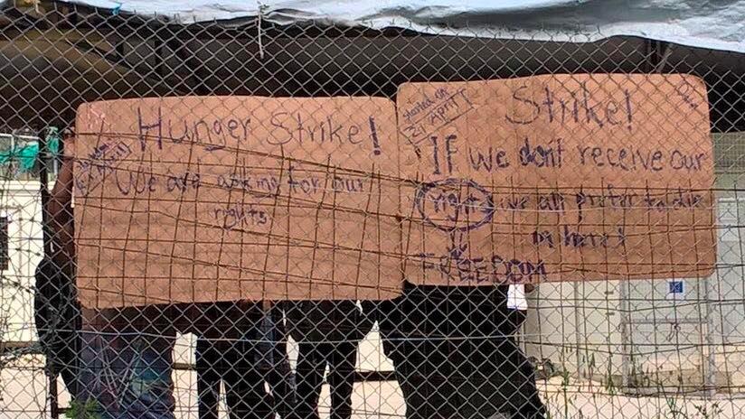 Réfugiés Syriens en grève de la faim sur l'île de Lesvos